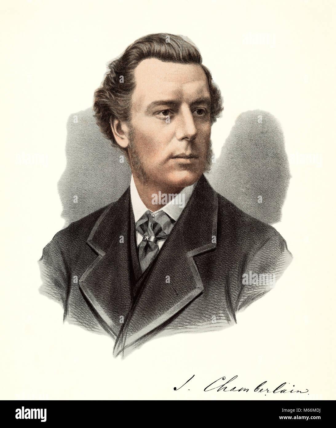 1800s 1880s 1890s JOSEPH CHAMBERLAIN BRITISH IMPERIALIST STATESMAN COLONIAL SECRETARY DURING BOER WAR - kh13281 - Stock Image