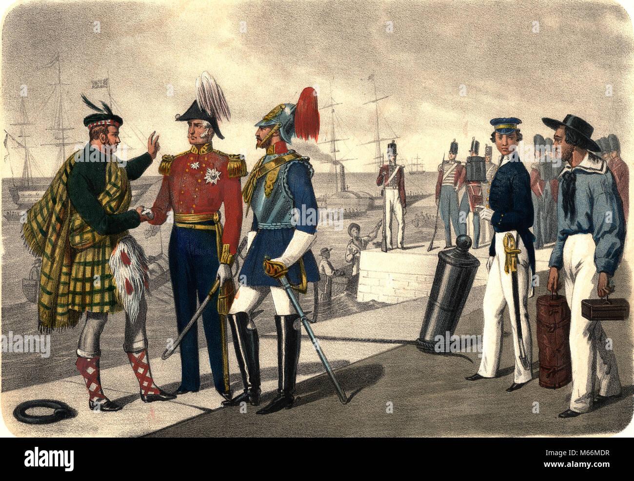1800s 19TH CENTURY VICTORIAN MILITARY MEN IN UNIFORM SCOTSMAN KILT GENERAL OFFICER HORSEGUARD MARINE SAILOR - kh13282 Stock Photo