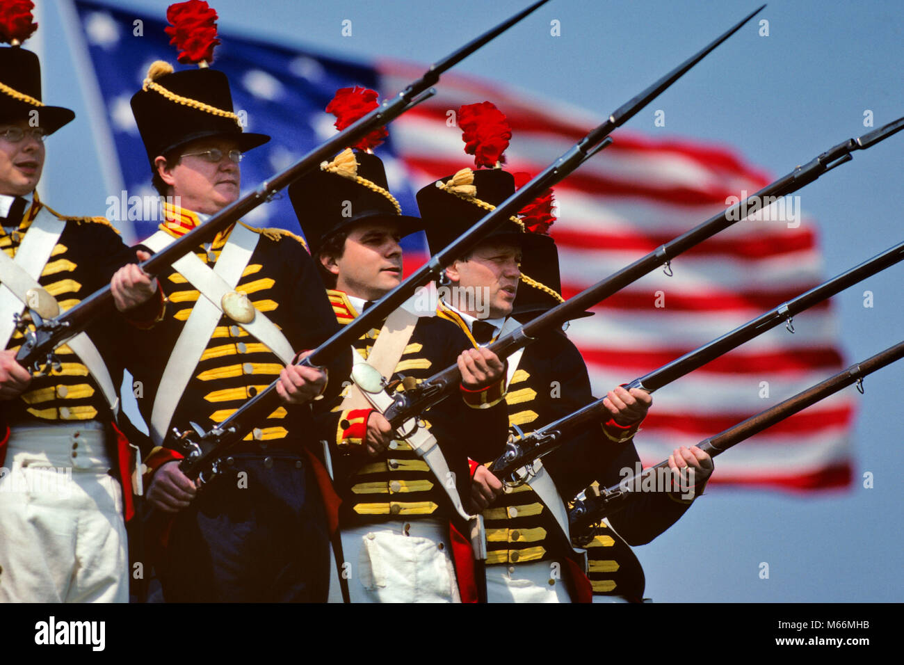 1980s WAR OF 1812 REENACTOR SOLDIERS FORT McHENRY BALTIMORE MARYLAND USA - kh9760 BLE001 HARS HALF-LENGTH INSPIRATION - Stock Image