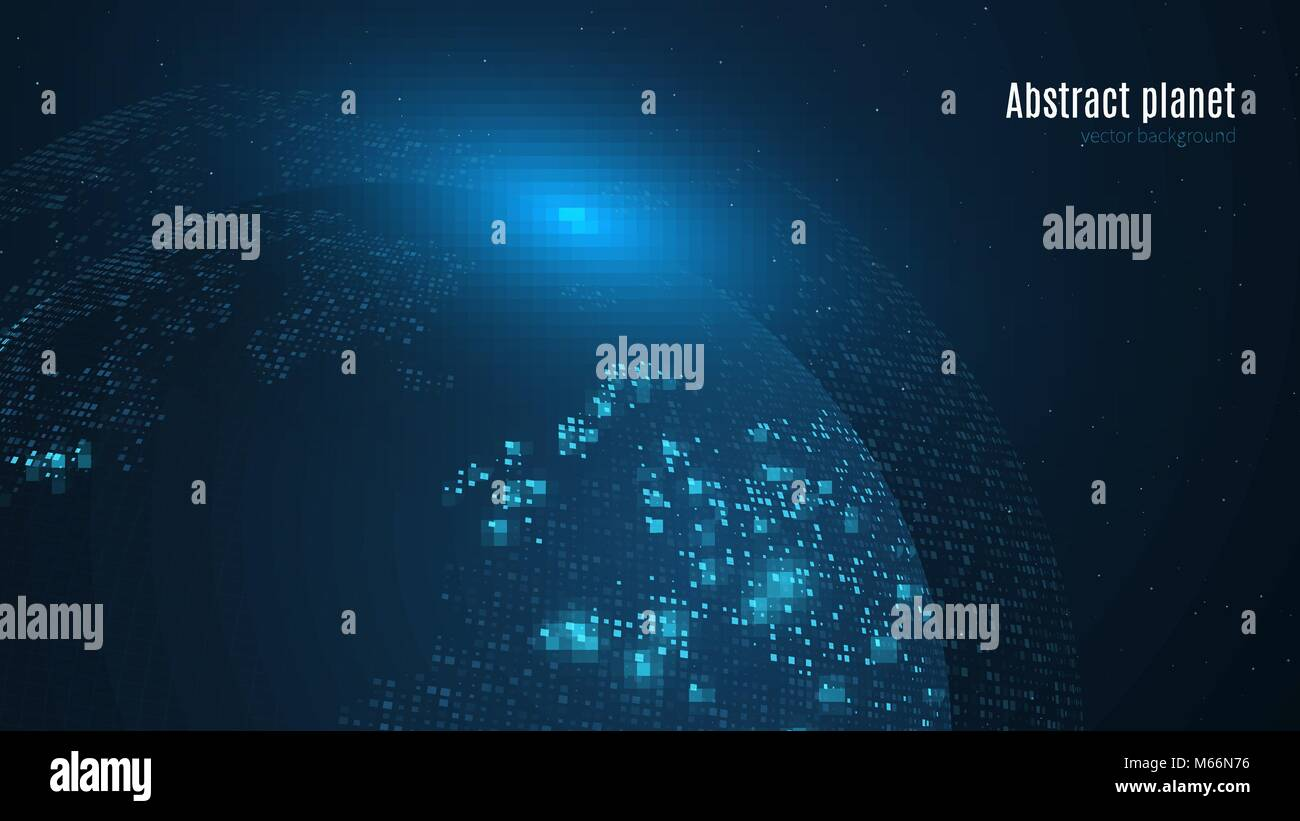 Abstract planet on a dark blue background earth world map blue abstract planet on a dark blue background earth world map blue light sci fi and hi tech big cities map of square points starry sky global netw gumiabroncs Images
