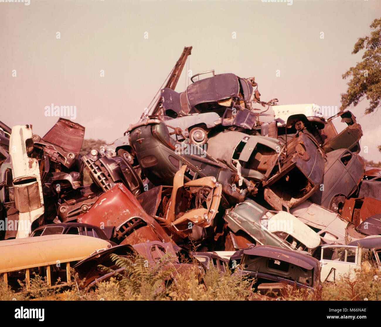 1960s AUTO GRAVEYARD RUSTY OLD CARS AUTOMOBILES PILE AT JUNKYARD ...
