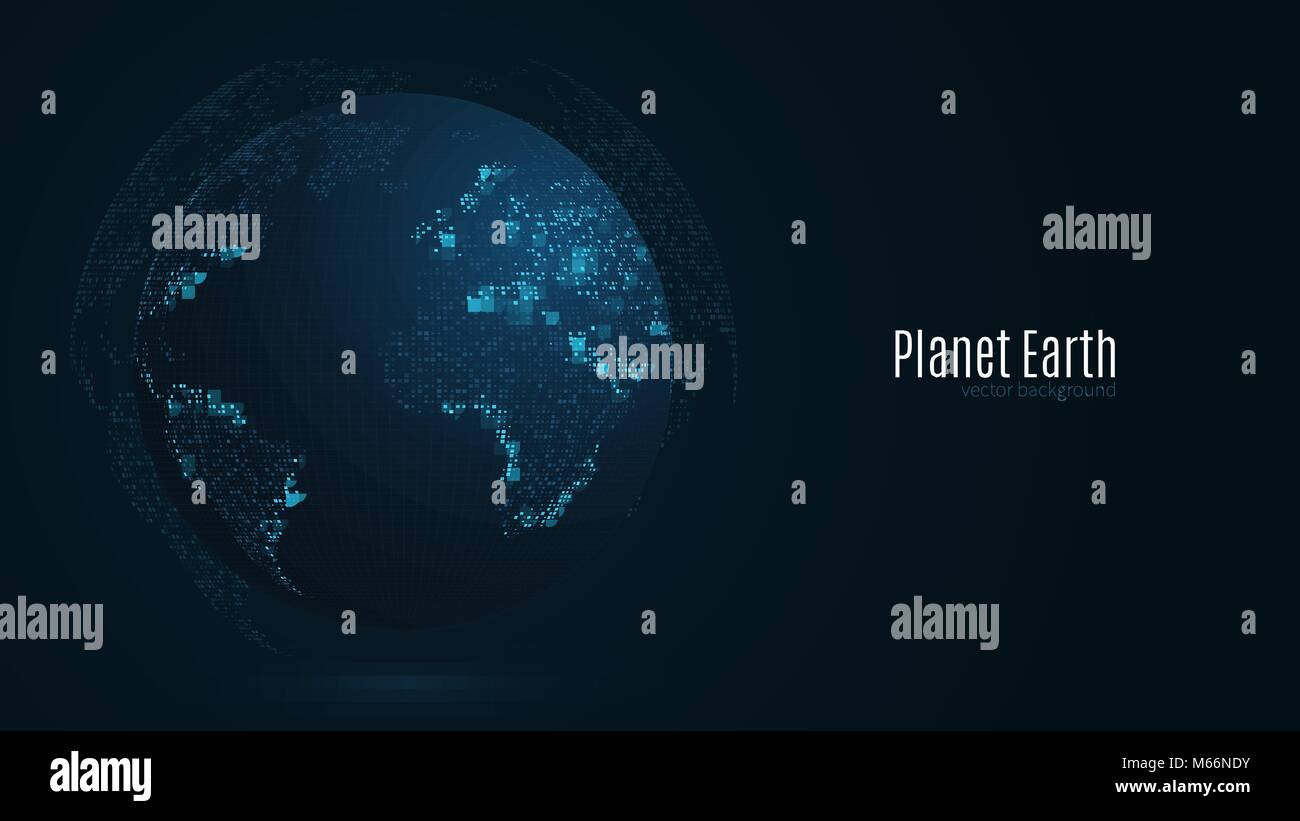 Abstract planet on a dark blue background. Earth. World map ...