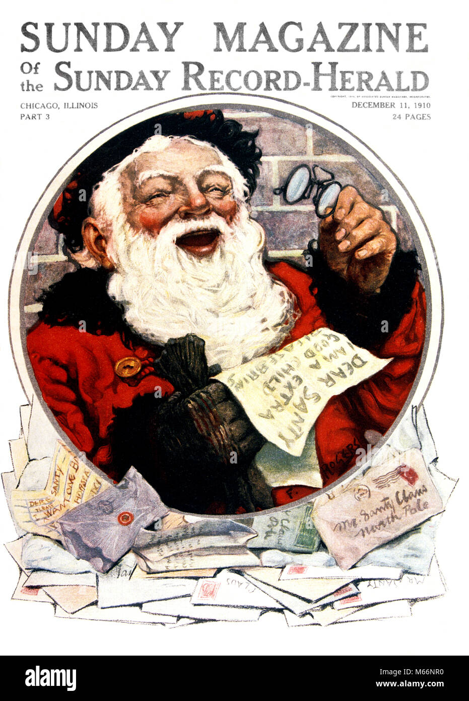 1910s laughing santa claus holding glasses reading letters to dear 1910s laughing santa claus holding glasses reading letters to dear stock photo 175940436 alamy spiritdancerdesigns Gallery