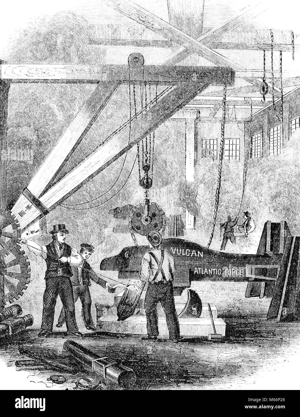 1880s ENGRAVING OF 19th CENTURY IRON WORKS - o3500 LAN001 HARS HISTORY JOBS CAST MANAGER FULL-LENGTH MASS HEAVY - Stock Image
