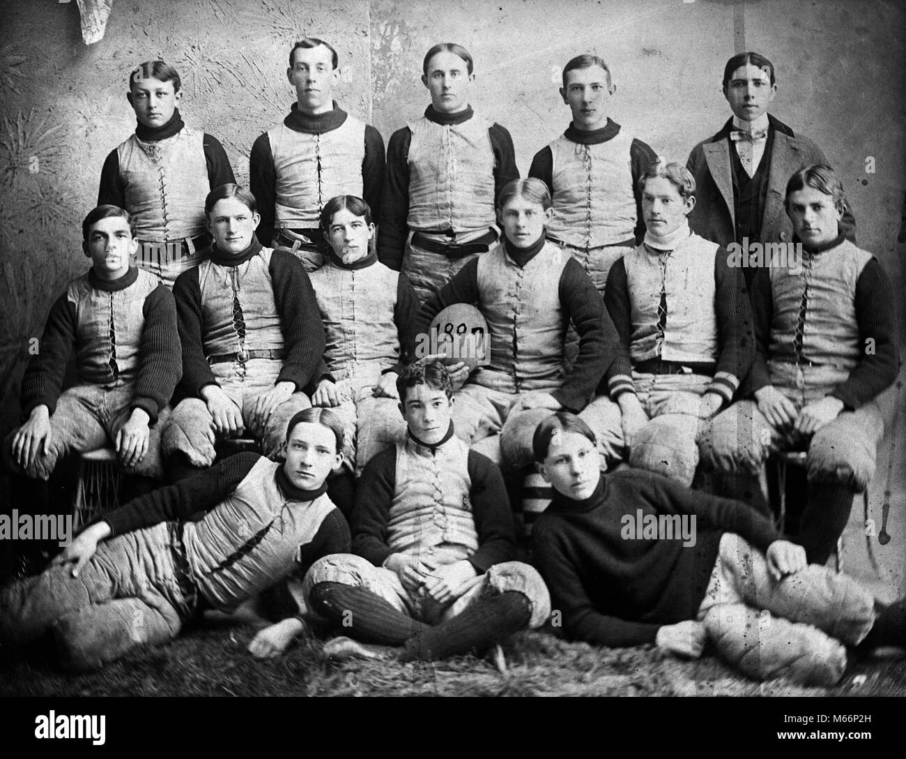 55f87a11285 1890s 1897 TURN OF 20TH CENTURY GROUP PORTRAIT HIGH SCHOOL FOOTBALL TEAM  PLAYERS WEARING TEAM UNIFORMS LOOKING AT CAMERA - o3704 LEF001 HARS EYE  CONTACT ...