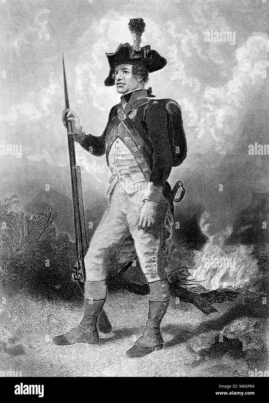 1770s ILLUSTRATION DEPICTING FULL LENGTH FIGURE OF SOLDIER FROM CONTINENTAL ARMY OF AMERICAN REVOLUTION - q59398 - Stock Image