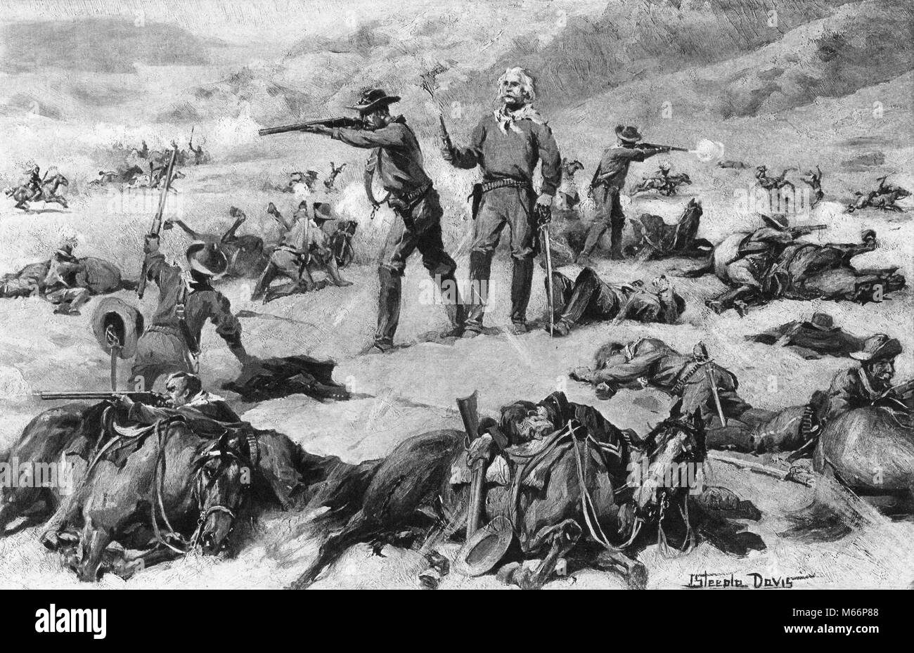 Custer's battlefield. Lettering the head-boards   Library ...