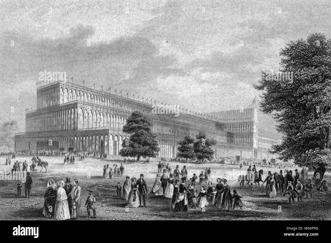 1800s 1850s 1851 THE CRYSTAL PALACE EXHIBITION HALL DESIGNED BY JOSEPH PAXTON THE GREAT EXHIBITION LONDON ENGLAND - Stock Image