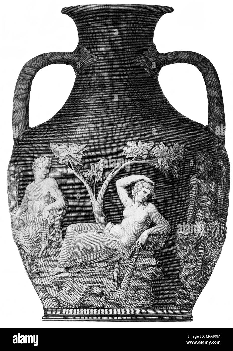 ENGRAVING OF PORTLAND VASE - FIRST CENTURY B.C. ROMAN CAMEO GLASS URN AMPHORA - q64018 CPC001 HARS ARTS B&W BLACK AND WHITE BRITISH MUSEUM FUNERARY FUNERARY URN OLD FASHIONED PERSONS PORTLAND VASE ROMAN CAMEO GLASS URN Stock Photo