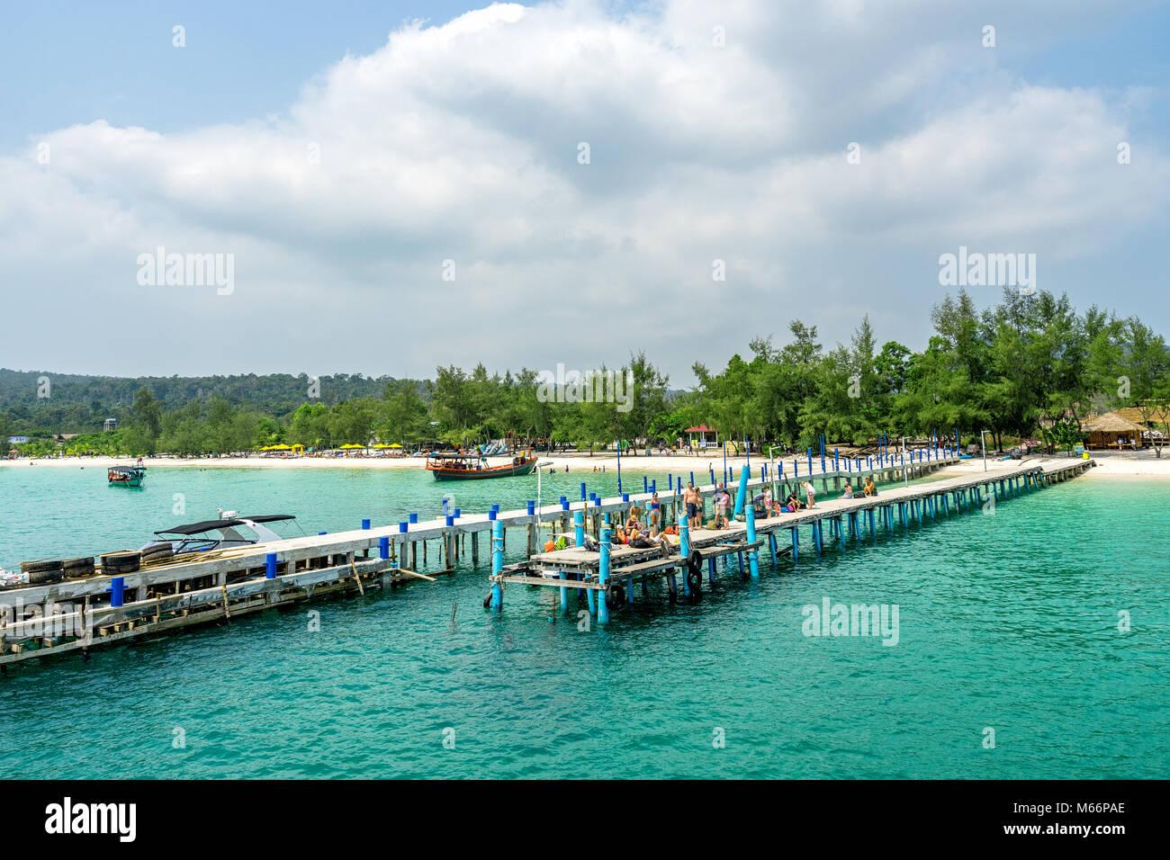 Landscape photo of beautiful white sand exotic beach on Koh Rong island , Sihanoukville, Cambodia - Stock Image