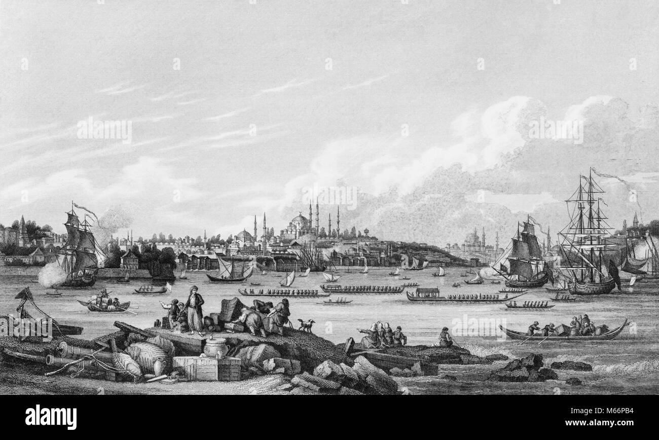 1800s THE SULTAN GOING TO THE MOSQUE IN CONSTANTINOPLE NOW ISTANBUL TURKEY VIEW OF HARBOR SHIPS AND SULTAN'S - Stock Image