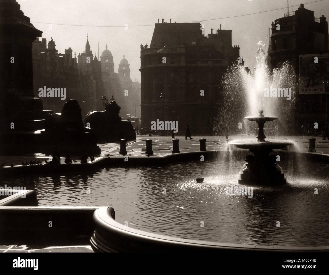 1930s 1940s SILHOUETTE TRAFALGAR SQUARE FOUNTAIN LONDON ENGLAND