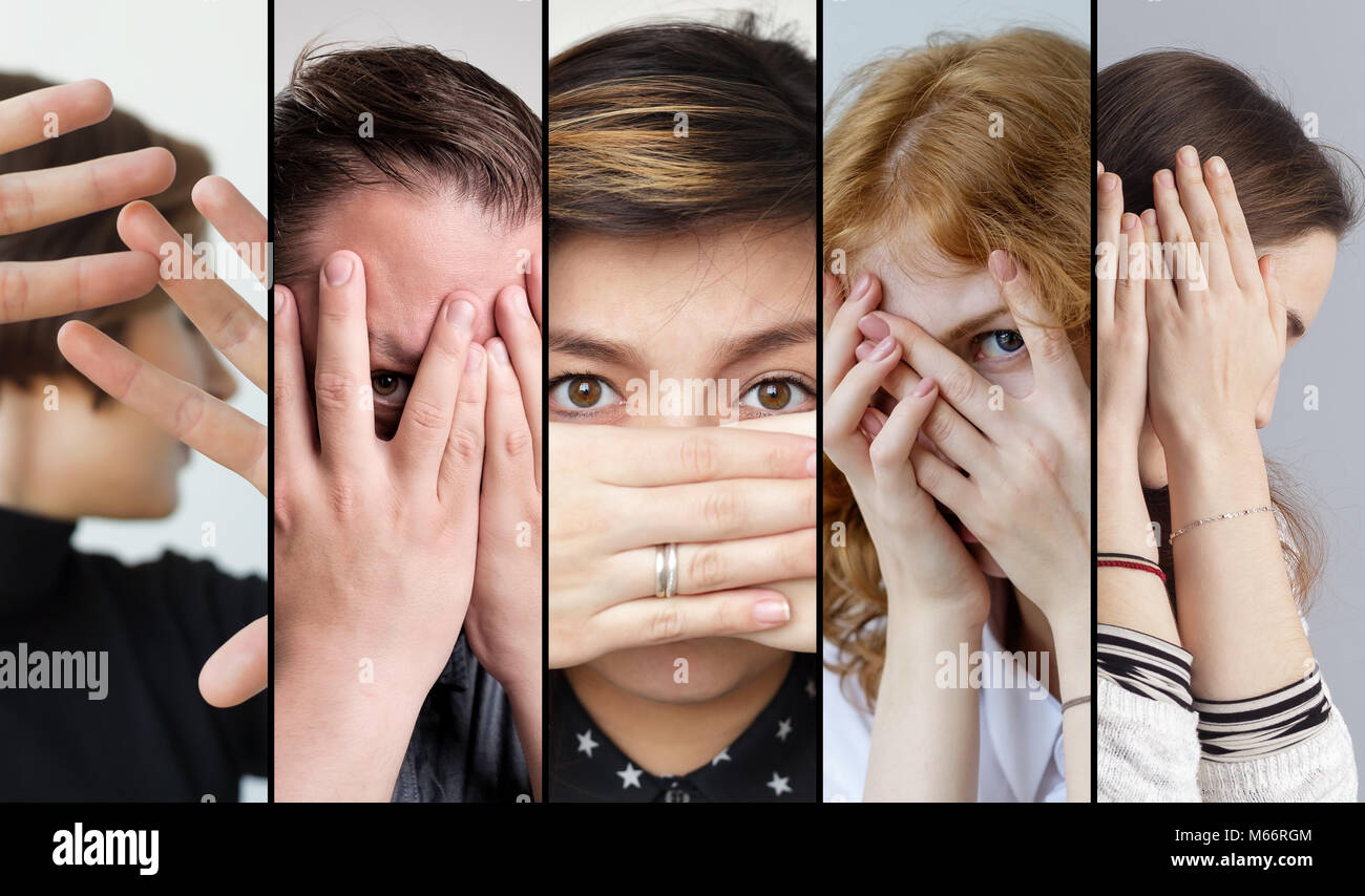 Set of people that are hiding their face with fingers. To be afraid of something - Stock Image