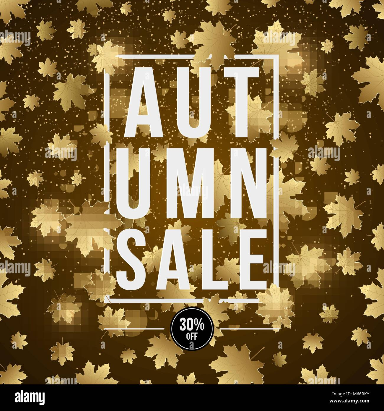 Autumn background poster for advertising autumn sale invitation autumn background poster for advertising autumn sale invitation card white paper banner with text golden maple leaves glare and flare vector ill stopboris Images