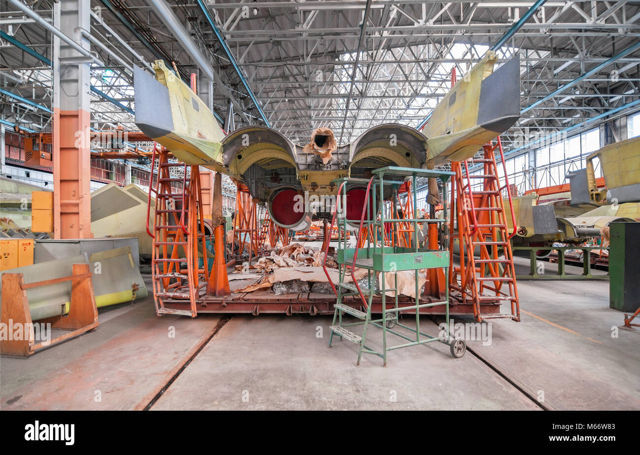 Aviation factory of military aircraft. Slipway with the Russian multirole fighter, back view - Stock Image