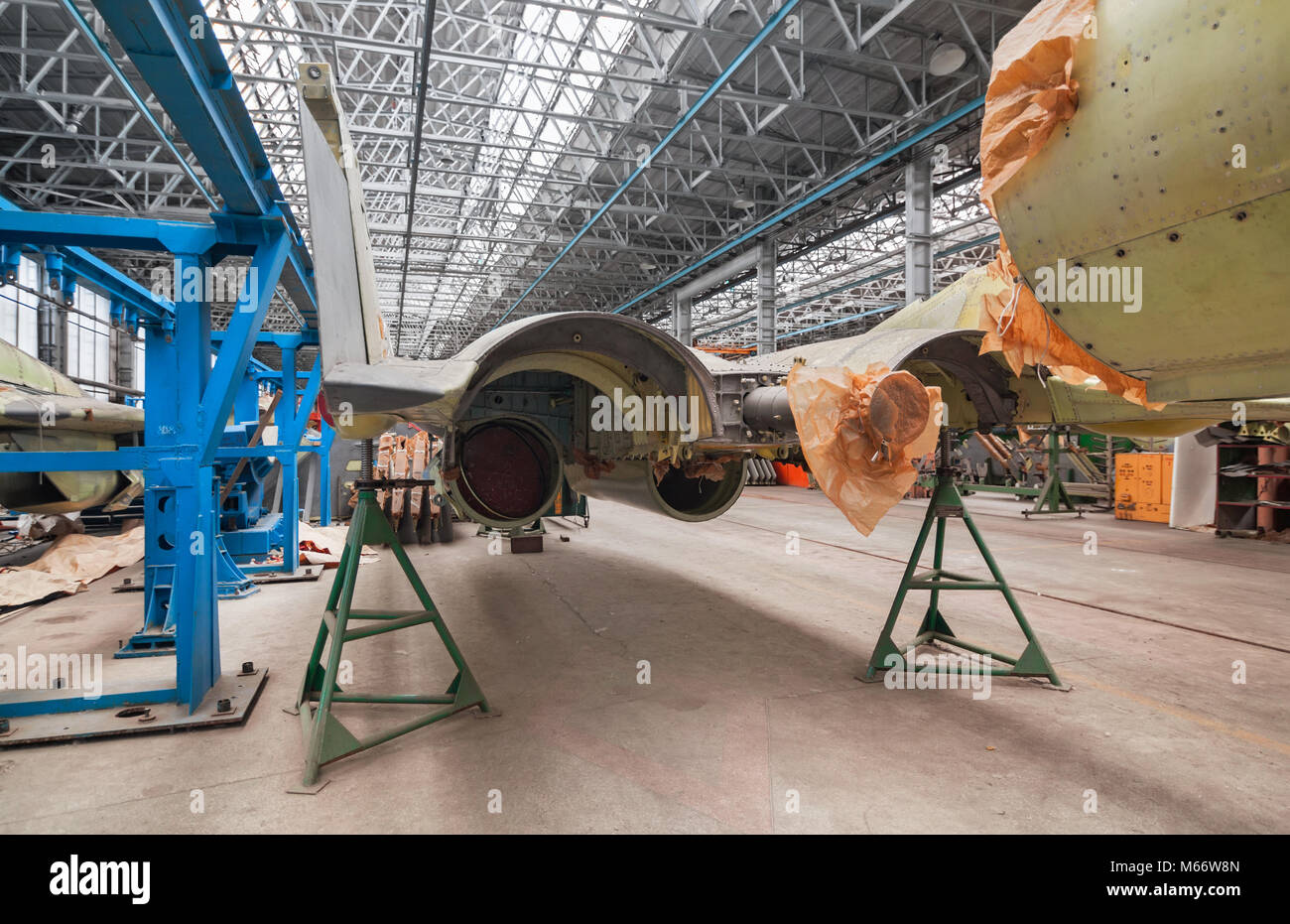 Aviation factory of military aircraft. Back view Russian multirole fighter - Stock Image