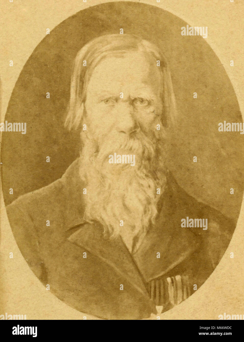 Portrait of a old bearded man, Italy 1850s - Stock Image