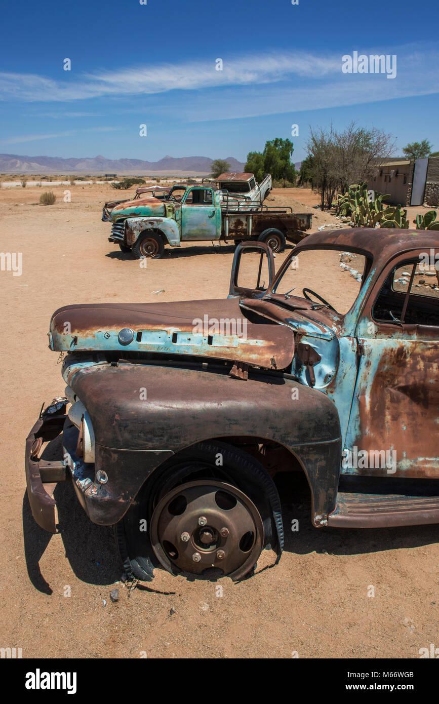 Wrecks of oldtimers in the desert, Solitaire, Khomas region, Namibia - Stock Image