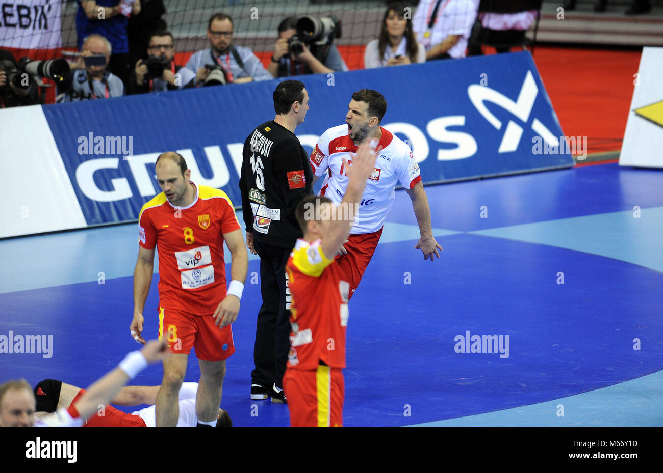 CRACOV, POLAND - JANUARY 17, 2016: Men's EHF European Handball Federation EURO 2016 Krakow Tauron Arena Poland - Stock Image