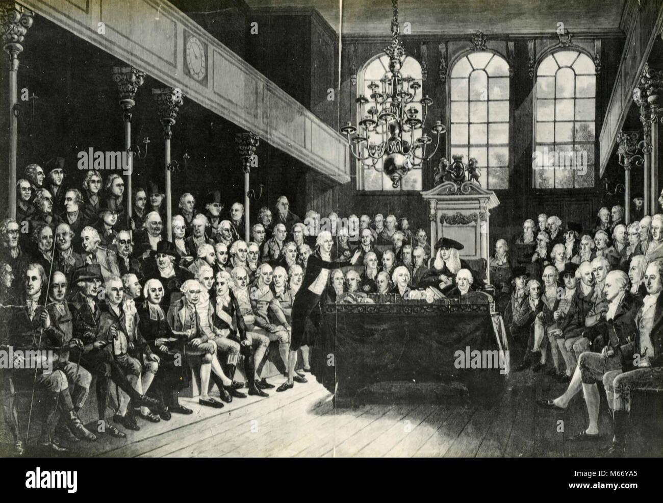 William Pitt addressing the House, UK 1793 - Stock Image