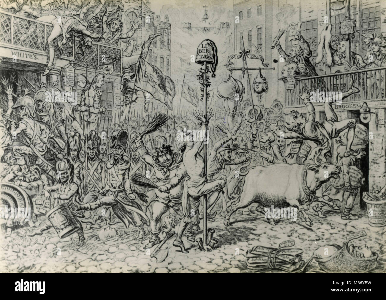 Cartoon of the horrors which the French invasion would bring to England with Fox in the foreground, UK 1790s - Stock Image