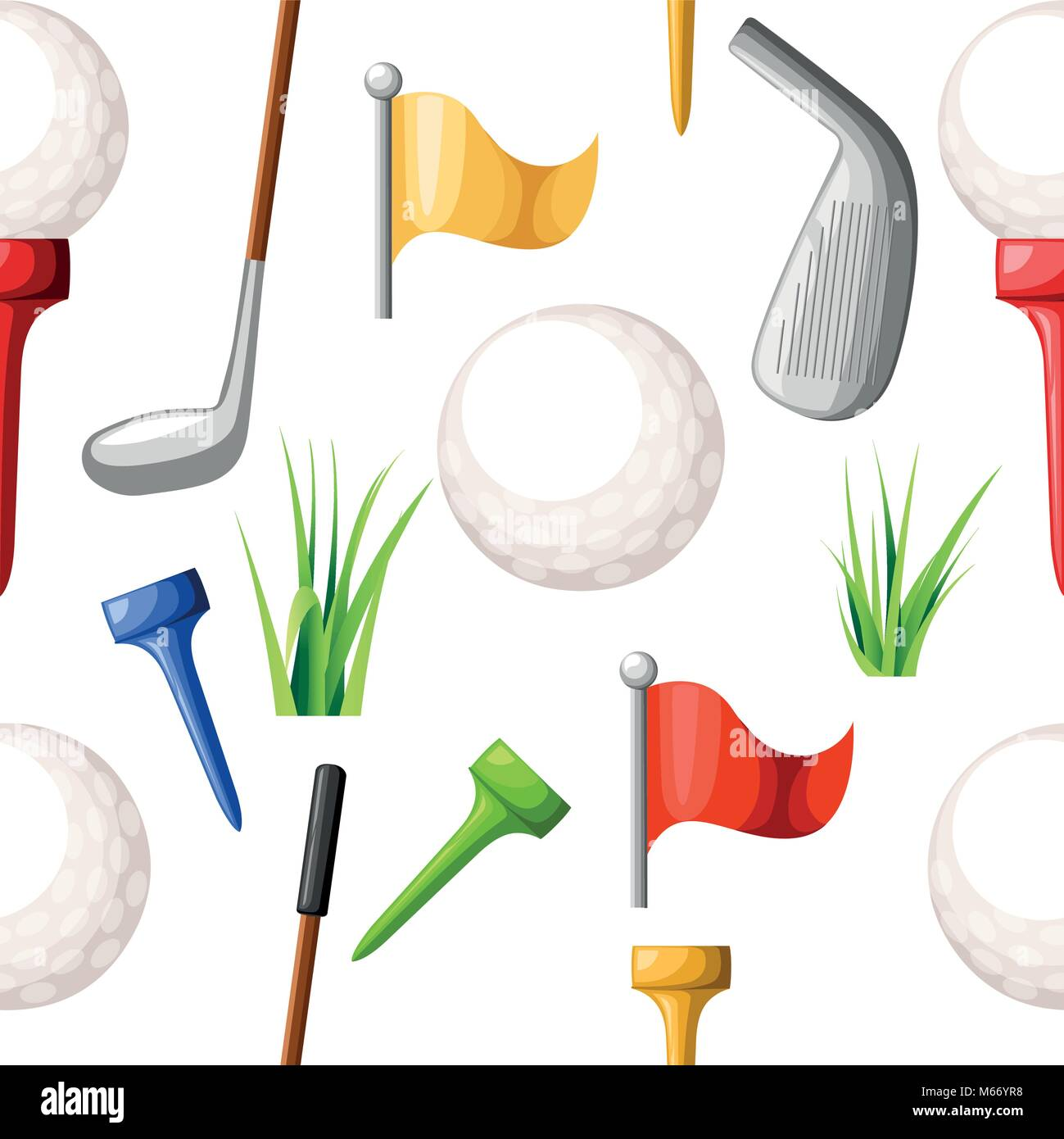 Seamless pattern of golf balls on different color tee and various golf clubs green grass golf course vector illustration - Stock Image