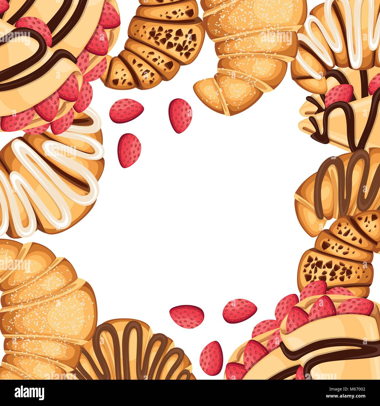 Pattern of croissant and pancakes with different fillings cream chocolate and sesame on top strawberry vector illustration - Stock Image