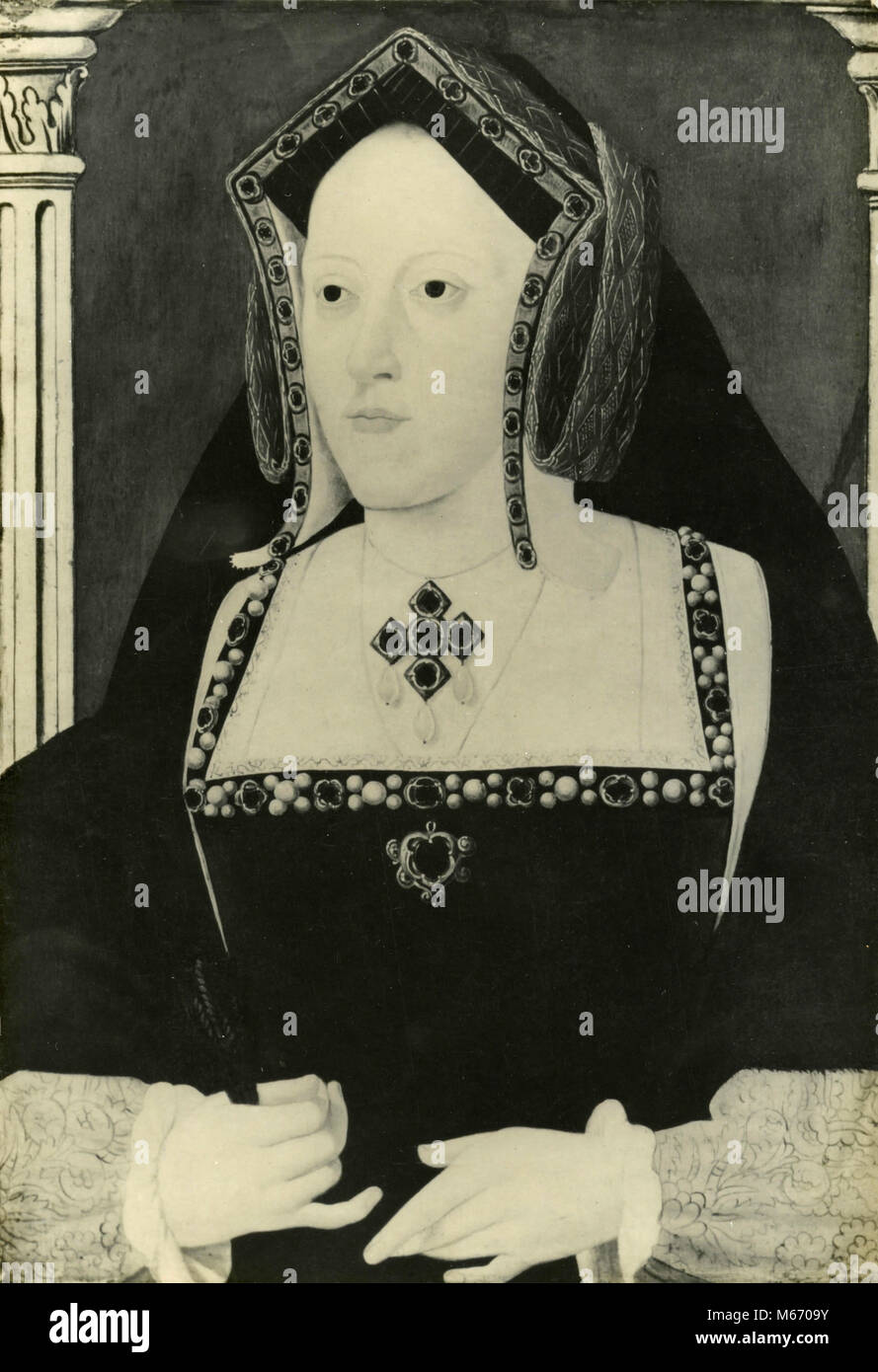 Portrait of Katharine of Aragon, daughter of Ferdinand and Isabella of Spain - Stock Image