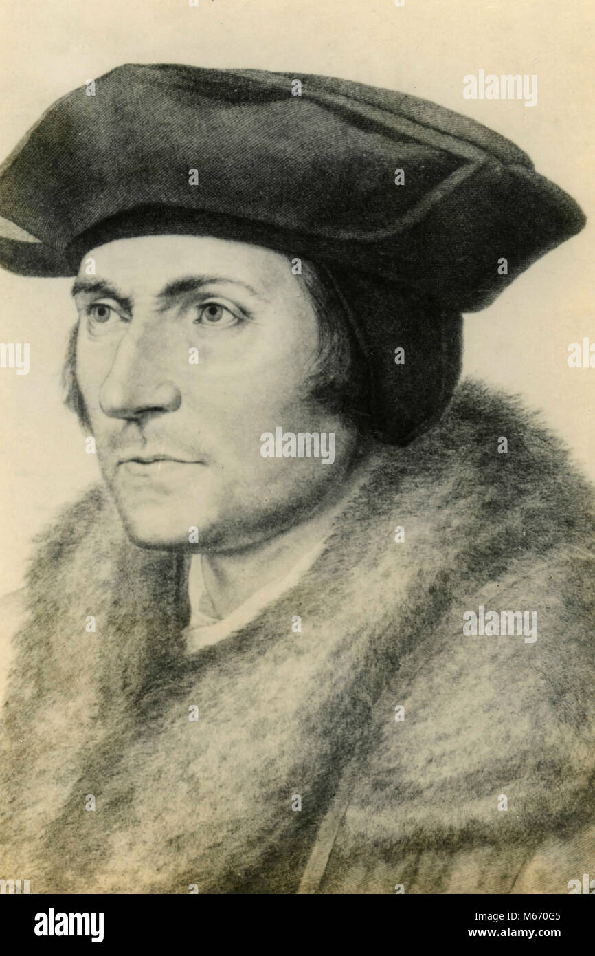 Portrait of Thomas More, after Holbein - Stock Image