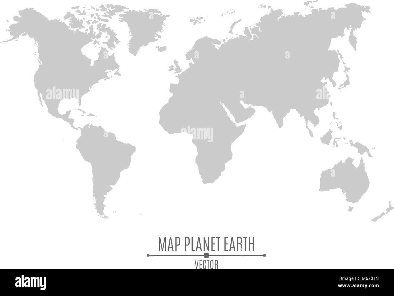 Map Of The Planet Earth In A Flat Style Continents Of Gray Color