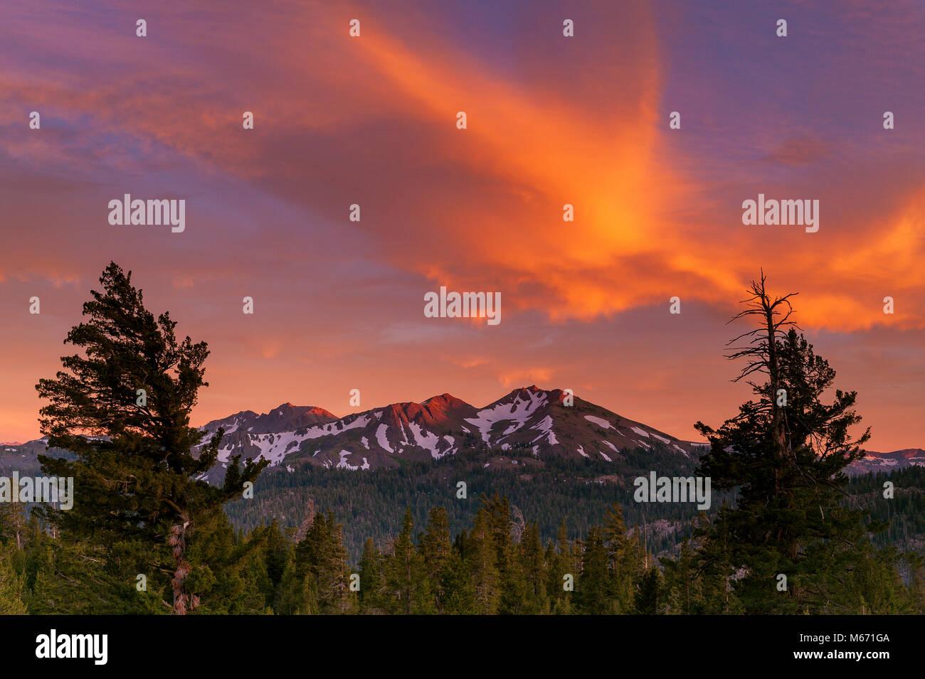 Sunset, Folger Peak, Carson-Iceberg Wilderness, Stanislaus National Forest, Sierra Nevada, California - Stock Image
