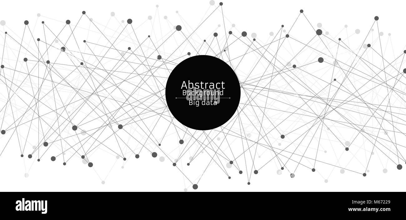 Abstract futuristic background. Connection of lines and dots in black. White background. Black web. Hi-tech and - Stock Image