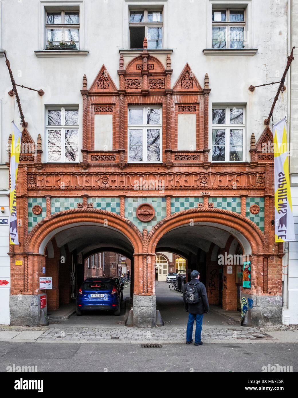 Berlin Handwerker Verein, Artisans' Association House, elaborate main entrance of historic club building in - Stock Image