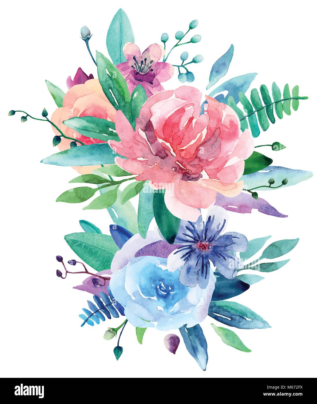 Watercolor Floral Bouquet Vector Clip Art Pink And Blue Flowers