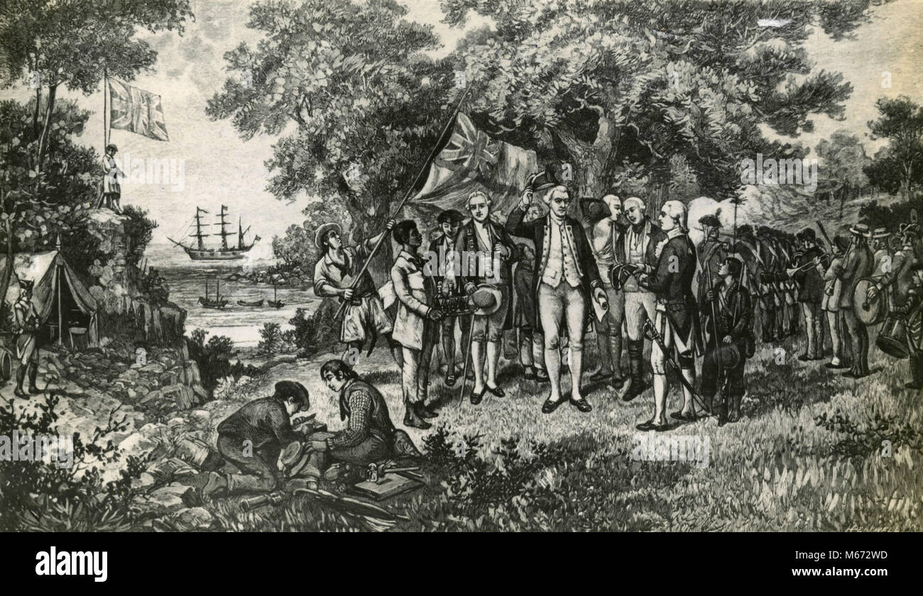 Captain Cook proclaiming New South Wales in Australia a British possession, Botan Bay 1770 - Stock Image