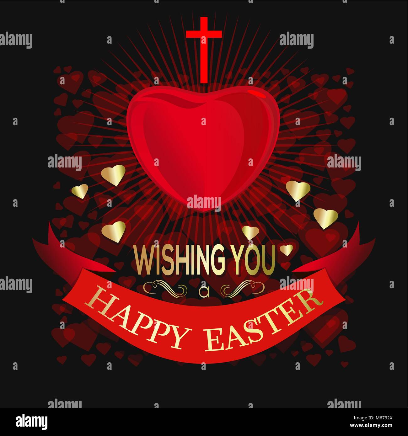 Happy Easter Big Red Heart Cross And Easter Greetings On The Dark