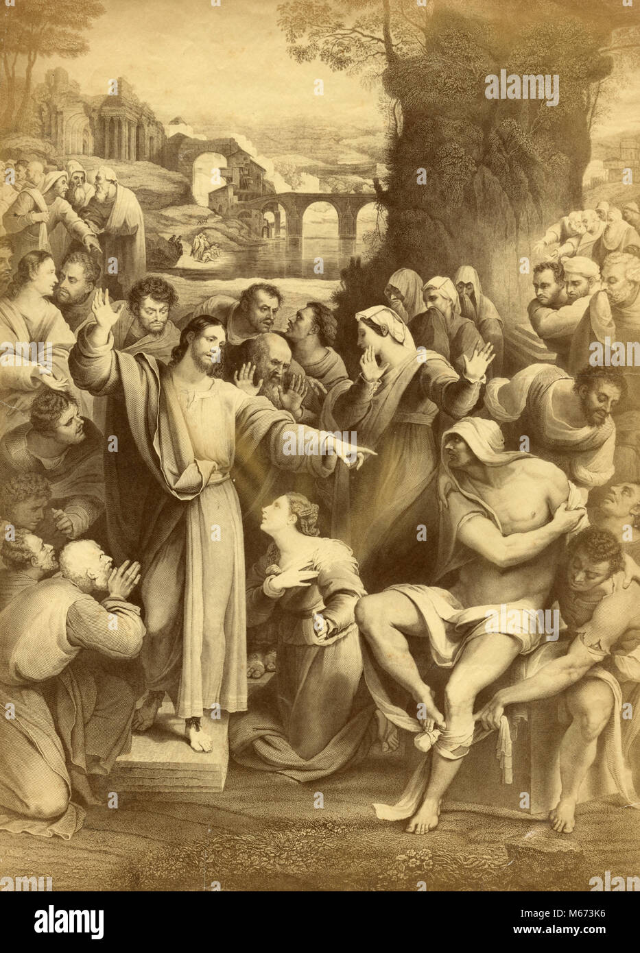 The raising of Lazarus or the resurrection of Lazarus, painting - Stock Image