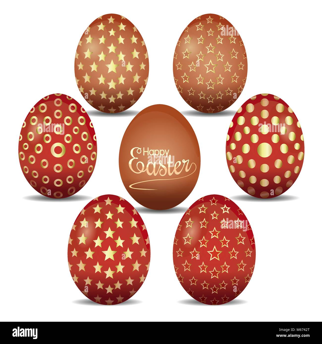 Set of cute Easter eggs with golden ornaments. Seven Easter eggs on a white background. Happy Easter. Vector illustration - Stock Image