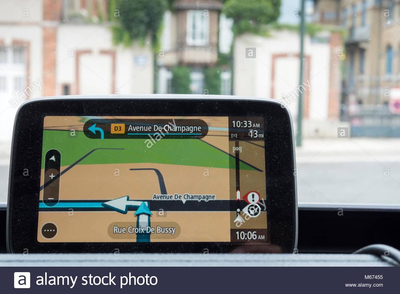 Satnav in car at Avenue de Champagne Epernay Marne Grand Est France - Stock Image