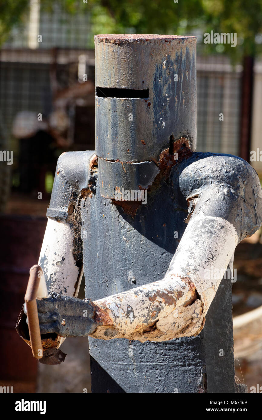 Metal figure of the famous outlaw Ned Kelly, Coolgardie, Western Australia. - Stock Image