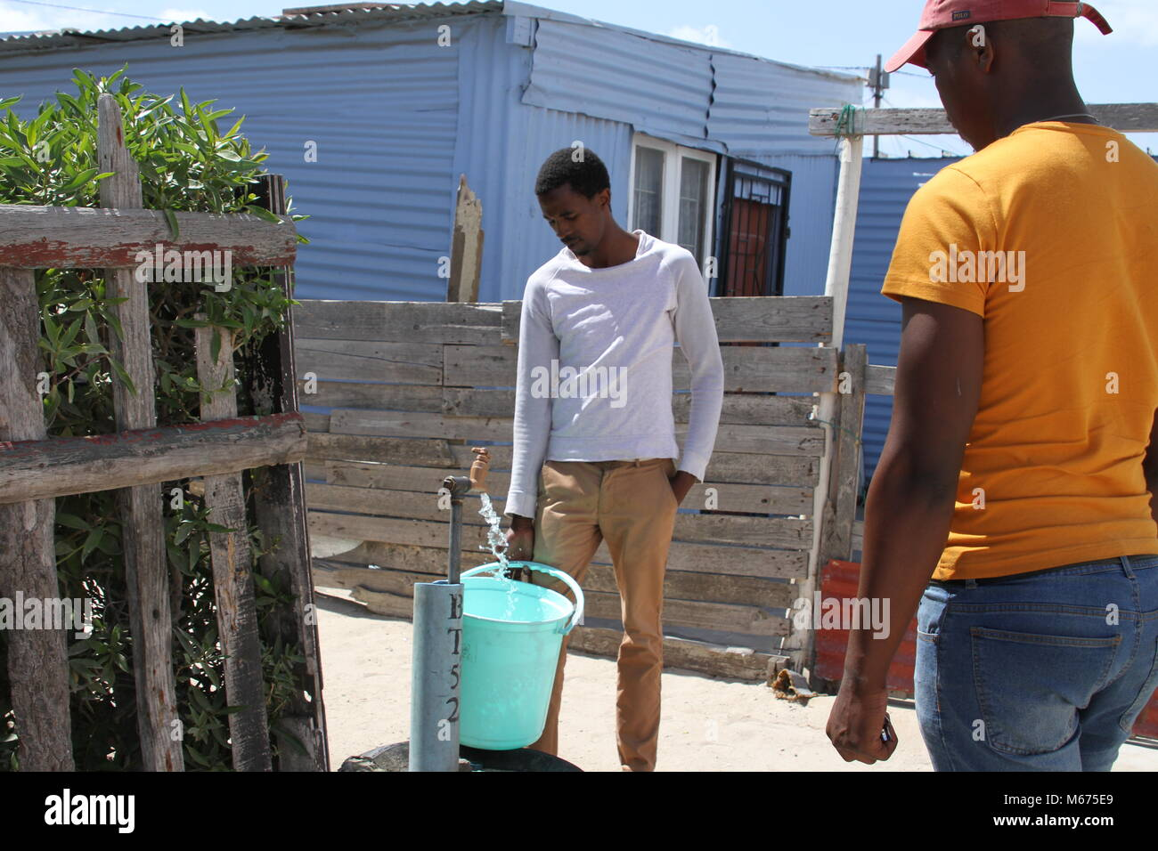 09 February 2018, South Africa, Cape Town, Khayelitsha: Anele Goba, 34, who lives in the Khayelitsha slum area outside - Stock Image