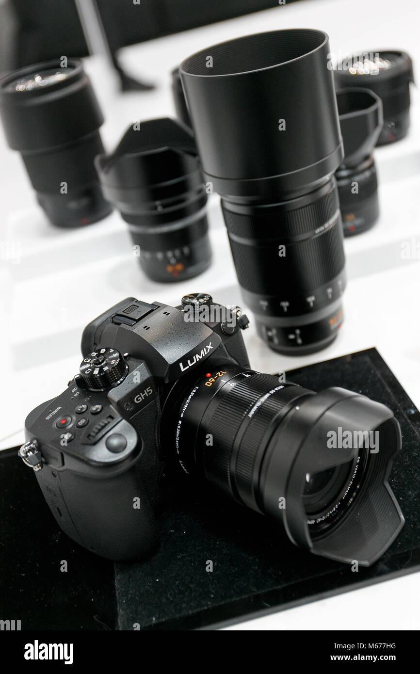 Yokohama, Japan. 1st Mar, 2018. A camera Lumix GH5 on display at the CP  Camera & Photo Imaging Show 2018 on - Stock Image