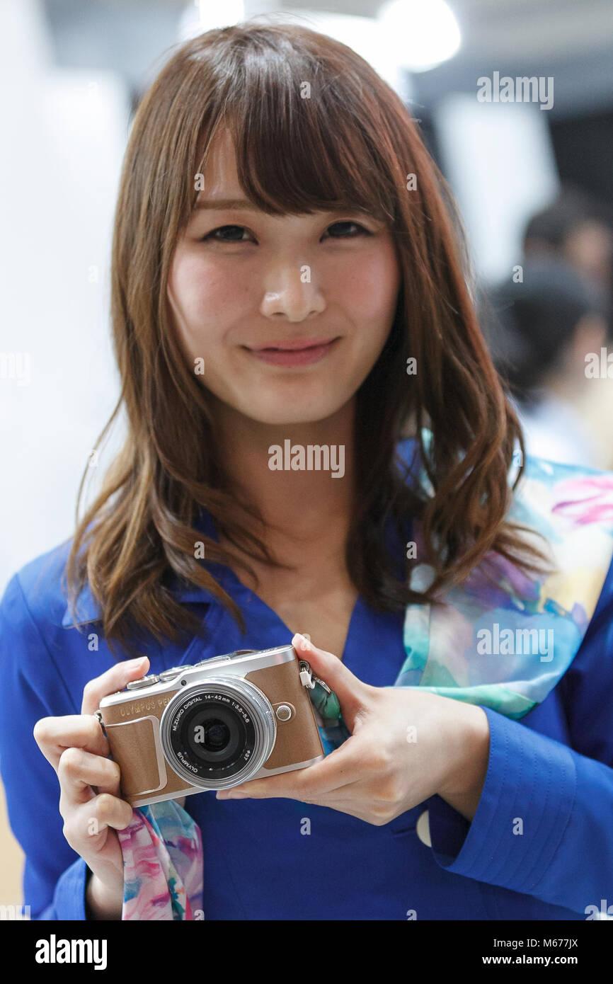 Yokohama, Japan  1st Mar, 2018  A model shows the new camera