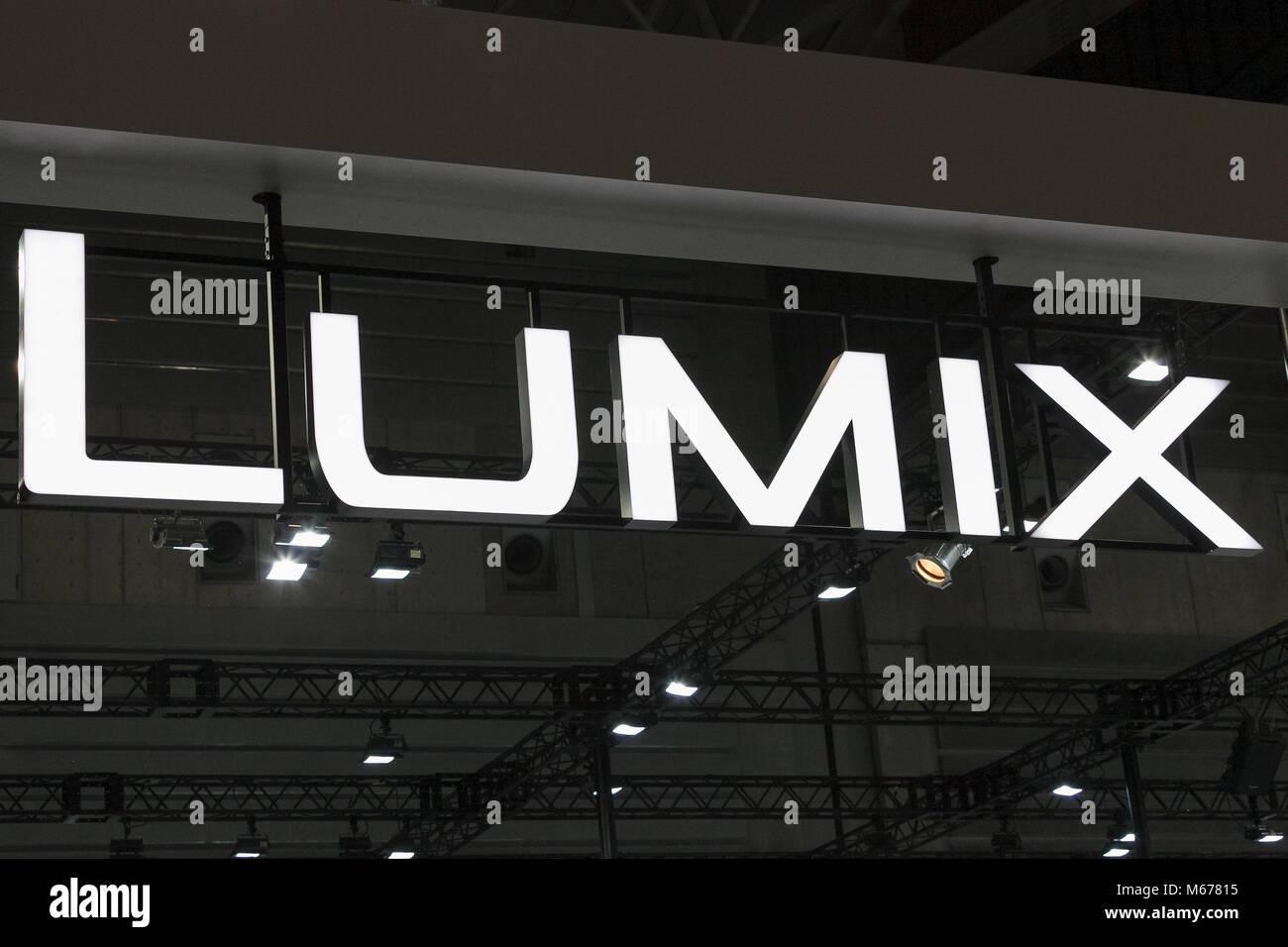 Yokohama, Japan. 1st Mar, 2018. A Lumix logo on display at the CP  Camera & Photo Imaging Show 2018 on March - Stock Image