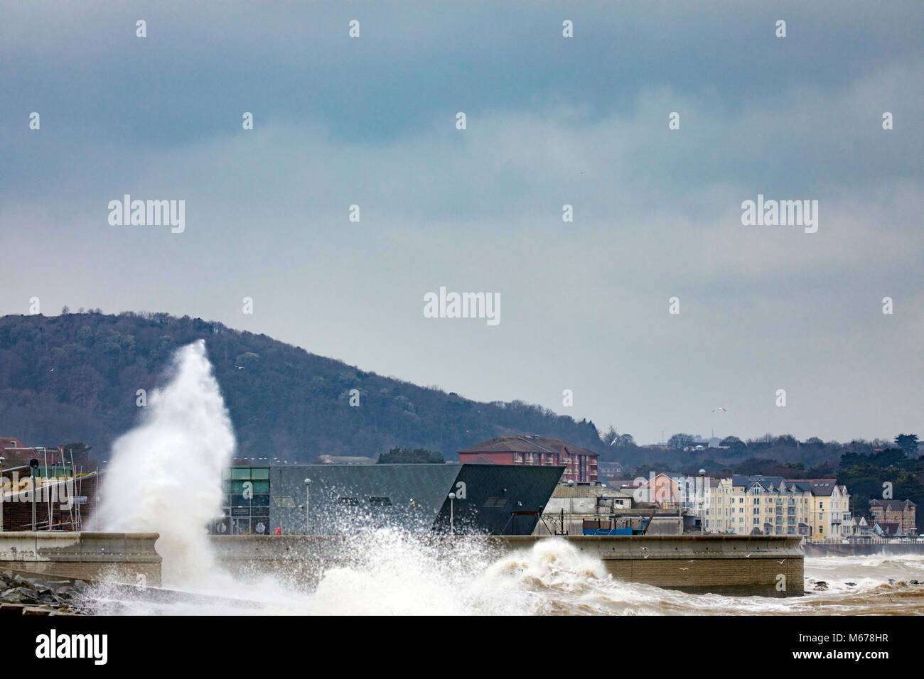 Colwyn Bay, UK UK Weather. The Beast from the East covers many parts of the UK with snow with further snowfall to - Stock Image