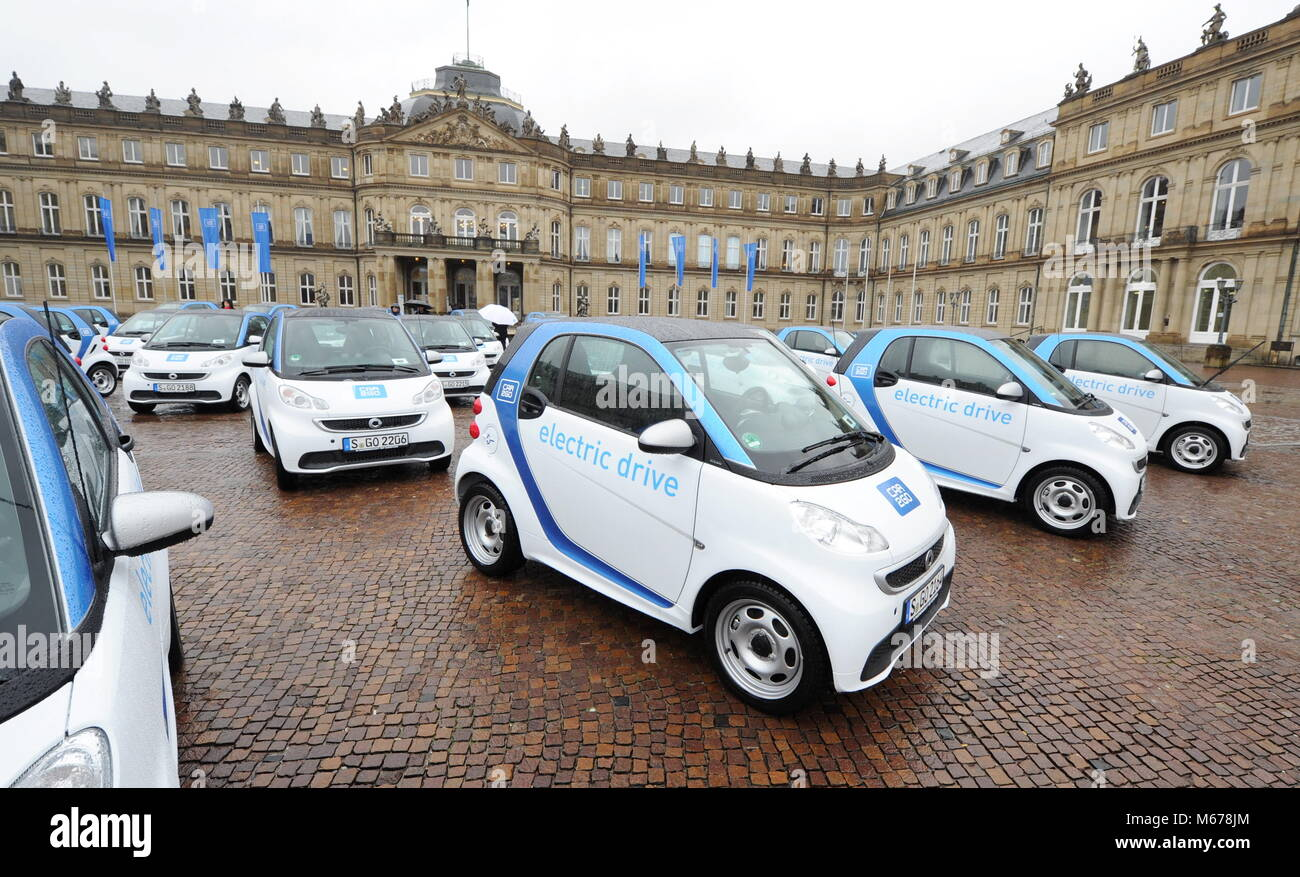 Electric cars are visible during the presentation of the - according to the organisers - largest car2go electric - Stock Image