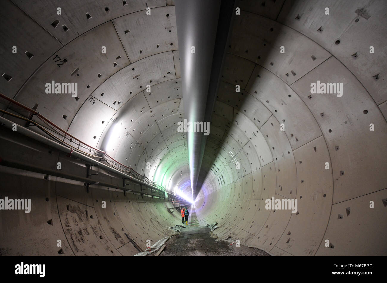 dpatop - Deutsche Bahn (German Railway) workers and members of the press in the east tunnel in Rastatt, Germany, - Stock Image