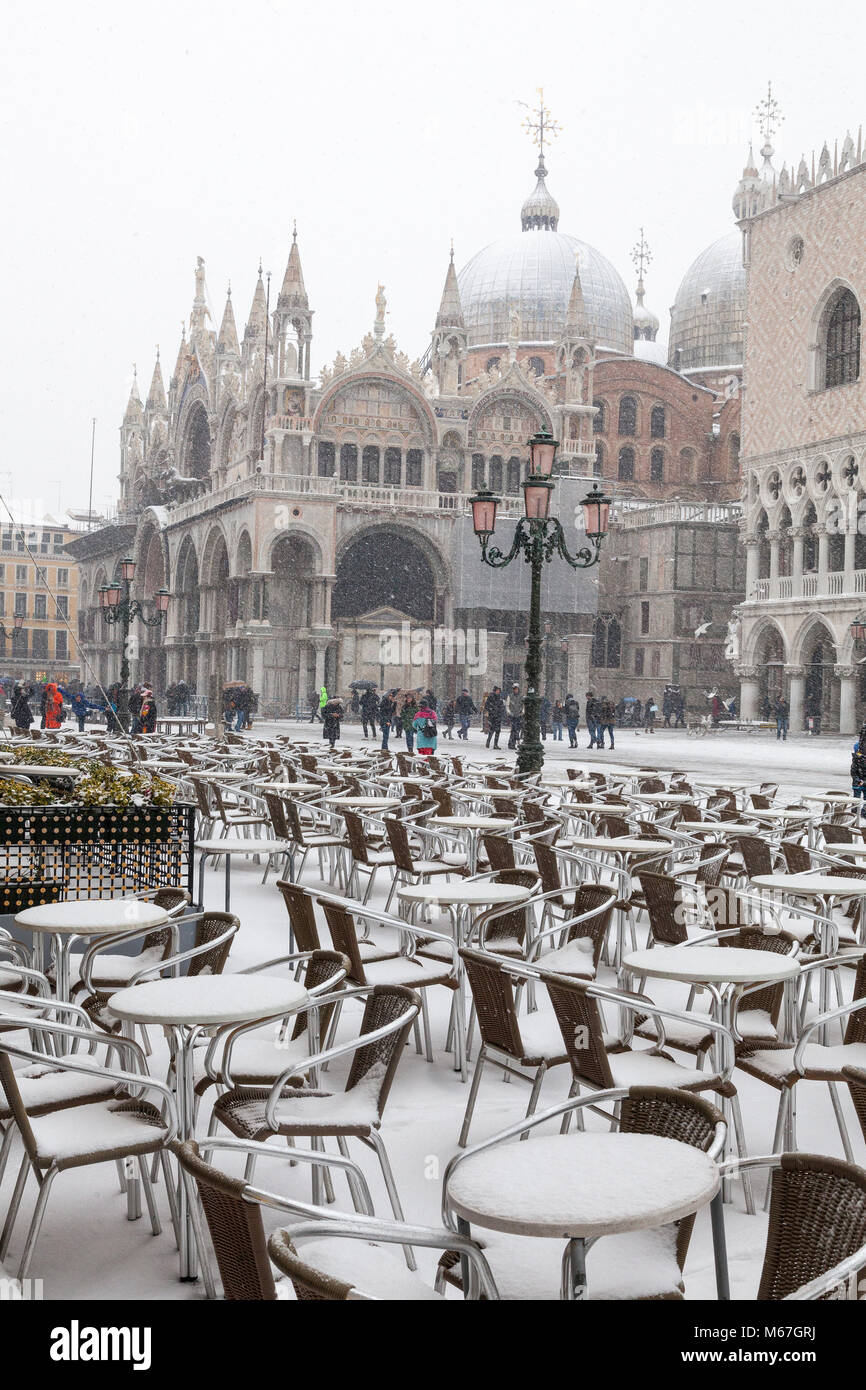 Venice, Veneto, Italy 1st March 2018. Bad weather in Venice today with sub-zero temperatures between minus 3 and - Stock Image