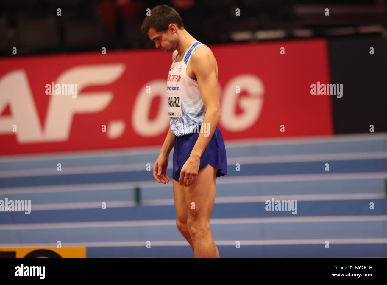 Birmingham, UK. 1st March, 2018. Robbie GRABARZ (GREAT BRITAIN)  concentrates before his jump during the mens high - Stock Image