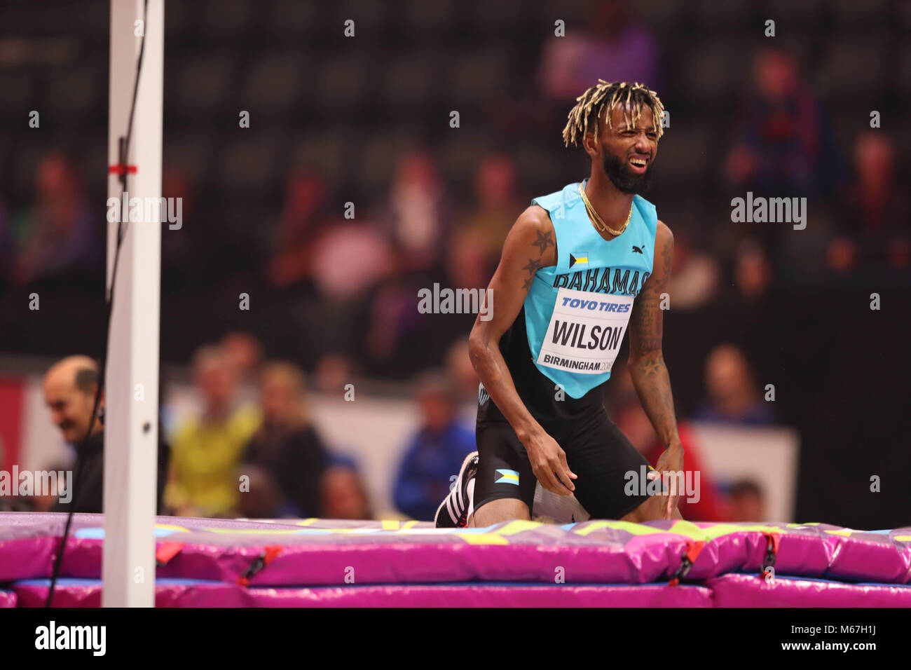 Birmingham, UK. 1st March, 2018. Donald THOMAS (BAHAMAS)  looks dissapointed during  the mens high jump at the IAAF - Stock Image